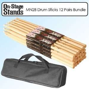 On Stage MN2B Maple Wood Drum Sticks with Nylon Tip 12 Pair Bundle