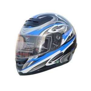 DOT Full Face Blue Graphic Motorcycle Helmet Automotive