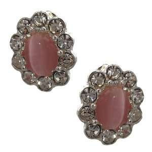Adorlee Silver Pink Crystal Clip On Earrings Jewelry