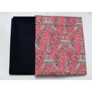 Eiffel Tower Hot Pink with Solid Black Kona Cotton (2