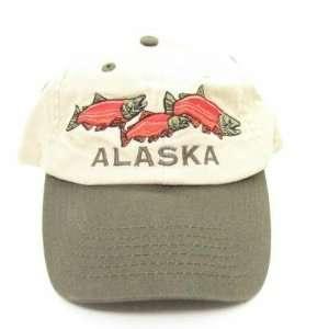Alaska Fishing New 3 Red Salmon Khaki Ball Cap Hat