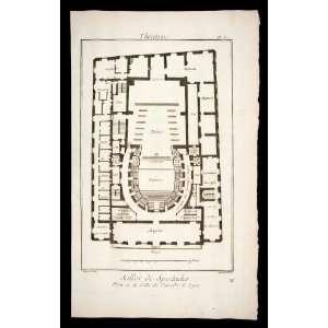 1770 Copper Engraving Architectural Floor Plan Salle De Spectacles