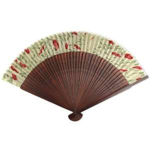 Maroon Tint Wood Hand Held Folding Fan  Home & Kitchen