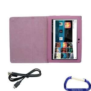 Gizmo Dorks Faux Leather Folio Case (Pink) and Micro USB