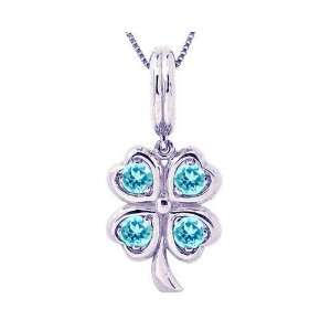 14K White Gold LucK y Charm Four Leaf Clover Pendant Swiss