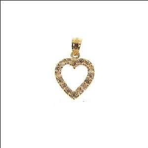 Yellow Gold, Small Heart Pendant Charm with Lab Created Gems 11mm Wide