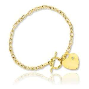 14k Yellow Gold Heart 3mm Toggle Diamond Charm Bracelet Jewelry