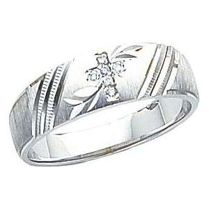 14K White Gold Diamond Cross Mens Ring Sz 10 Jewelry