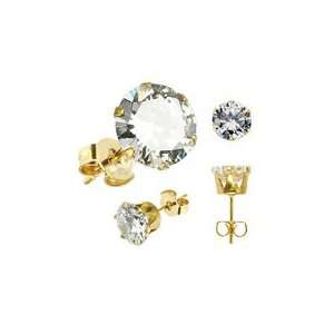Surgical Steel Gold Plated Earrings Stud 3mm Round Clear CZ Jewelry