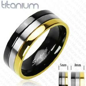 Solid Titanium with Gold Plated and Onyx Colored Edged Ring   Size9