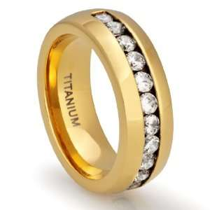 8MM Mens Titanium 18K Gold Plated Ring Wedding Band with Channel Set