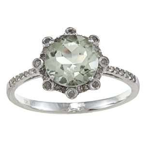 10k White Gold Round Green Amethyst and Diamond Ring (1/4 TDW)   size