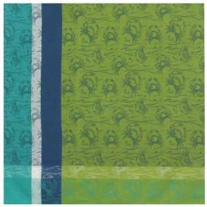 Durable Woven Jacquard 100% Cotton Blue and Green Crab Tablecloth
