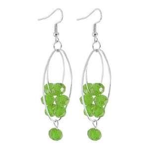 Green Plastic Crystal Beaded Flower Decor Fish Hook Earrings Jewelry