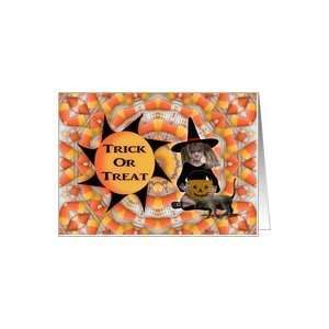 Halloween Trick Or Treat Girl Witch Black Cat Candy Card
