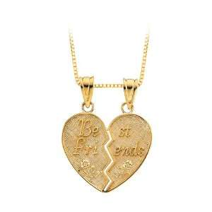 Gold Best Friends Heart Shaped Pendant with Chain Katarina Jewelry