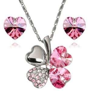 Heart Shaped Four Leaf Clover Swarovski Crystal Pendant Necklace