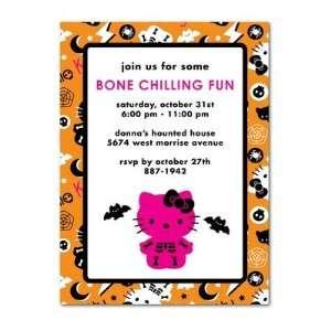 Halloween Party Invitations   Hello Kitty Bone Chilling