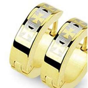 Gold Plated Stainless Steel Huggie Earrings with Three