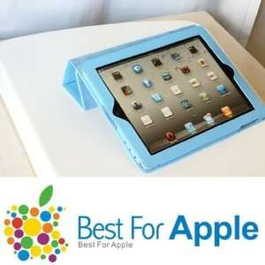 Tri Fold Wake up / sleep magnetic Smart Cover case for iPad 2   Blue
