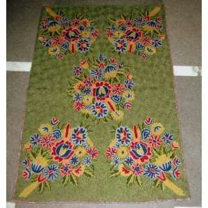 Rug Phooldar Greens Chain Stitched Wool Rug(2X3FT) Furniture & Decor