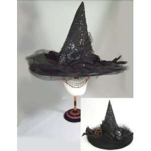 BLACK WITCH HAT w jeweled bow Fabric Halloween Costume Home & Kitchen