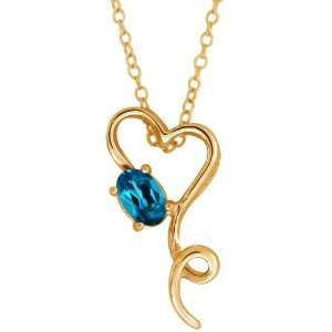 0.55 Ct Oval London Blue Topaz 14k Yellow Gold Pendant