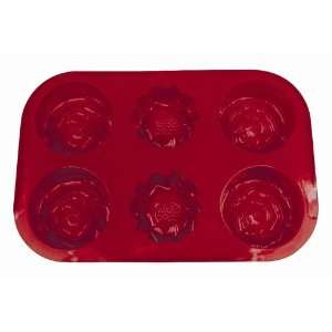 SiliconeZone Flower Mini Cake/Muffin Pan, Red