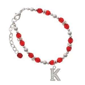 Crystal   K   Initial   Beaded Border Red Czech Glass Beaded Charm