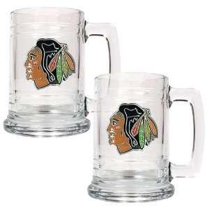 Chicago Blackhawks NHL 2pc 15oz Glass Tankard Set  Primary Logo