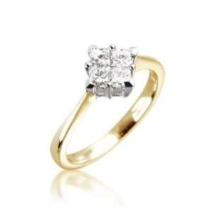 Set Princess Cut Invisable Set Ring in 18ct Yellow Gold, Ring Size 5