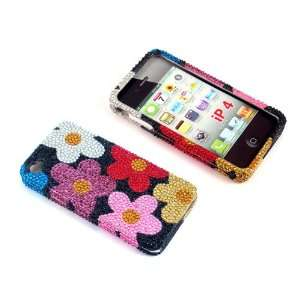 Case Colorful flower Bling Rhinestone Crystal Snap on Full Cover Case