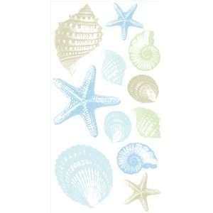 DCWV Wall Art Seashells, Peel   Stick, Brown/Blue
