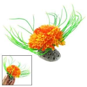 Como Plastic Green Leaf Accent Orange Flower Plants