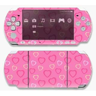 ~Sony PSP 1000 Skin Decal Sticker   Pink Hearts