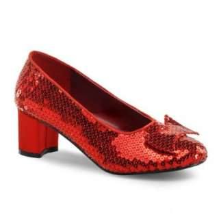 2 Inch Chunky Heel Silver Red Sequin Shoes Ruby Slippers