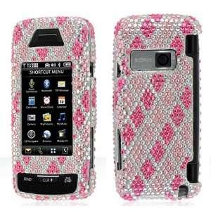 Luxmo Pink White Cross Checker Full Diamond Rhinestones Bling Design