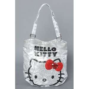 Sanrio Hello Kitty Silver Sequin Red Bow Rhinestone Handbag purse tote