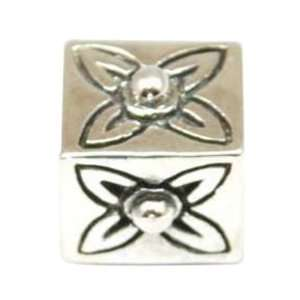 TOC BEADZ 925 Silver Square Flower 7mm Slide on Bead Jewelry