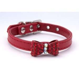 Rhinestone Bling Bow tie Dog/cat Collar X small Red