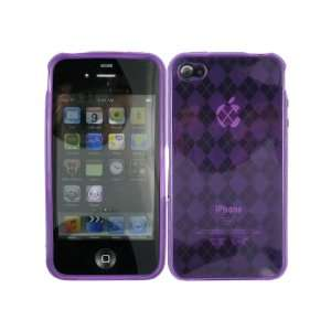 Purple Clear Argyle TPU Ice Candy Skin Soft Gel Rubber