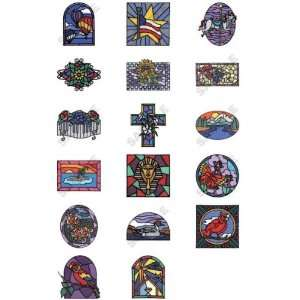 Stained Glass Scenes Embroidery Designs by Dakota Collectibles on