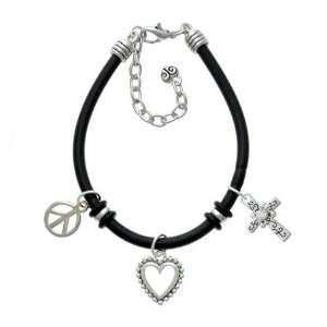 Silver Cross with Scrollwork & Clear Swarovski Crystal Black Peace