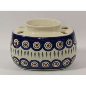 Polish Pottery Toothbrush Holder Peacock wz607 8: Home