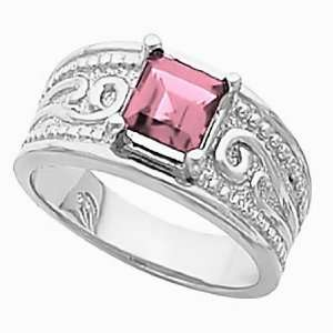 14K White Gold Pink Tourmaline Etruscan Style Ring Jewelry
