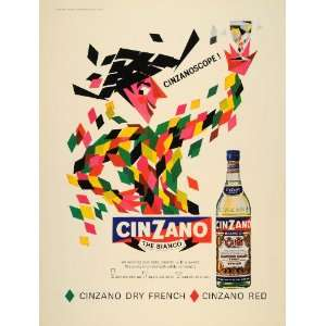 1965 Ad Cinzano Bianco White Dry Vermouth Bottle Italy