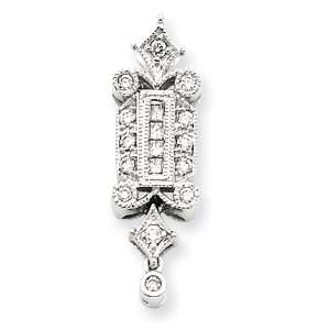 14k White Gold Diamond Vintage Pendant Diamond quality AA (I1 clarity