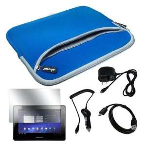 Skque Blue Dual Pocket Carrying Case + Home Wall Charger