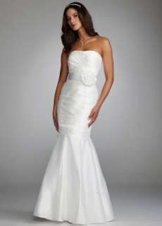Davids Bridal Wedding Dress Taffeta Mermaid Gown with