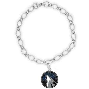 NBA Minnesota Timberwolves Ladies Silver Tone Charm Bracelet